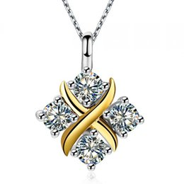 Wholesale Solid Platinum Necklace - Multicolor Trendy Party Pendants For Lady Solid 925 Sterling Silver Jewelry With Platinum Plated Synthetic Diamond Necklaces Free Shipping