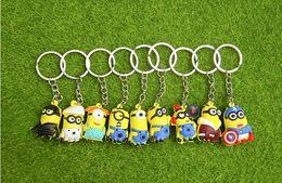 Wholesale Minion Bags - 3D Cartoon Minions Toy Key Ring Mini Minion Keychains Doll Kids Toys LED Light Voice Keyring Men Trinkets Charms