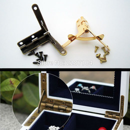 Wholesale Wholesale Pen Display Box - Wholesale- 6pc Golden Jewelry Chest Display Box Watch Pen Wine Gift Case furniture Makeup L 90 degree Support Spring Hinge with screws