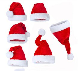 Wholesale Hot Santa Costume - Hot Christmas Cosplay Hats Soft Costumes Santa Claus Red Plush Hat Xmas Decoration Toys for Kids Adult 12pcs