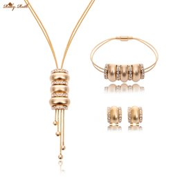 Wholesale Cz Bead 18k Gold Necklace - Ruby.Ruth Jewelry Sets For Women Fine Accessories Wedding Bridal 18K Gold Statement CZ crystal african beads Necklace Earrings Bracelet
