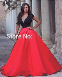 Wholesale Short Coctail Dresses Pink - Red and black prom dress 2016 low v neck short sleeve a line satin women pageant gown for formal coctail party