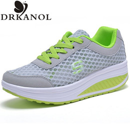 Wholesale Swing Tops - New 2017 Summer Breathable Air Mesh Shoes Women Lace Up Platform Women Casual Shoes Low Top Height Increasing Swing Shoes