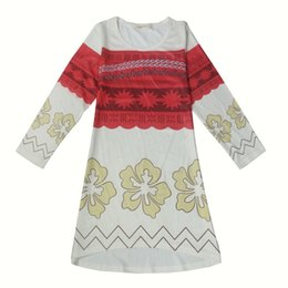 Wholesale Adventure Clothing - Princess Long Sleeve Moana Dress For Girls Dress Christmas Party Cosplay Kids Clothes Adventure children's character pajamas