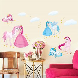 Wholesale Mural Princess - Princess Horse Removable Vinyl Kindergarten Nursery Kids Girl Child Bedroom Home Decor Art Mural DIY Wall Stickers Decal