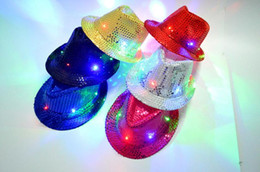 Wholesale Led Cowboy Hats - Kids Led Hats Colorful Cowboy Jazz Sequins Hats Cap Flashing Children Adult Unisex Party Festival Cosplay Costume Hats Gifts 9 Colors