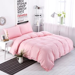Biancheria da letto grigio argento online-All'ingrosso-New Bedding Sets Sweetheart Full Pink Style Lenzuolo a righe Duver Quilt Cover Federa Soft Silver Grey King Queen Full Twin