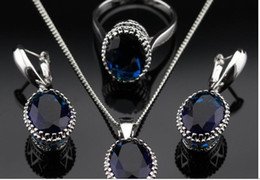 Wholesale Girls Sapphire Ring - Oval Blue Sapphire Jewelry Sets For Women 925 Silver Necklace Pendant Earrings Rings Size 6 7 8 9 Free Jewelry Box