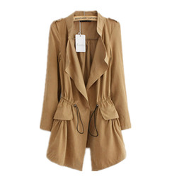 Wholesale Korean Style Trench Coat - 2016070603 Fashion 2016 Korean style Office elegant khaki drawstring Waist Long trench coat for women Casual brand windbreaker female