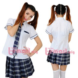 Wholesale School Uniform Costumes Cosplay - Wholesale-Free Shipping Short Sleeve White Blouse Plaid Skirt Girls High School Uniform Cosplay Costume