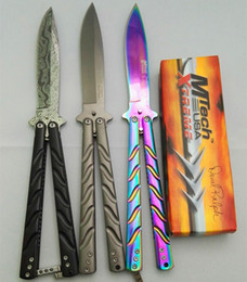 Wholesale folding patterns - butterfly Mtech rainbow grey titanium damas pattern jilt knife Free-swinging Knife survival hunting knife camping knives 1pcs