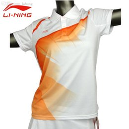 Wholesale Badminton Short Li Ning - Wholesale-Li-Ning Women's Short Sleeve Table Tennis T-Shirt Quick Dry Turn-down Collar Sports Li Ning Breathable Badminton Tee Shirts