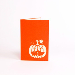 Wholesale Pop Lamp - The Vintage Halloween Day All Saints' Day 3D pop up gift cards Origami Kirigami greeting cards postcards Paper Pumpkin Lamp