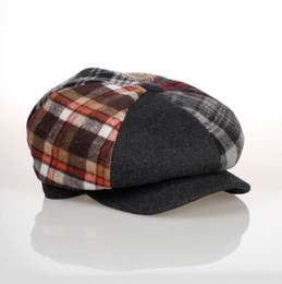 Wholesale Hat Made China - Wholesale-Colorful hexagonal six panel women newsboy cap plaid pattern top button winter magazine hats 56cm 58cm 60cm made in China 95030