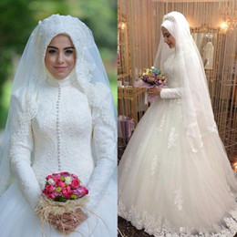 Wholesale Wedding Gown Shirt Collar - 2018 Muslim Arabic Lace Wedding Dresses Long Sleeves High Neck Lace Applique Vintage Tulle Beaded Sweep Train Plus Size Vestios Bridal Gowns