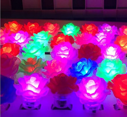 Wholesale Led Light Rave - Free Ship 100pcs Glow Led Light Up Flashing Rose Flower Bubble Elastic Ring Rave Party Blinking Soft Finger Lights For Party Disco KTV