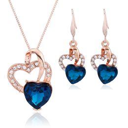 Wholesale 24k White Gold Heart - 24k gold plated wedding jewelry crystal butterflies for jewelry bridal jewelry set hot sale Heart shape Diamond