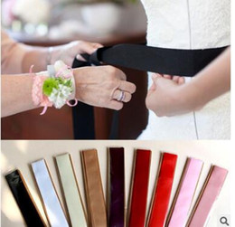 Wholesale Wholesale Bridal Sashes - Free Shipping Custom Made Exquisite Simple Satin Wedding Belt For Bridal Wedding Accessory Wedding Sashes 9 Color