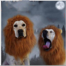 Wholesale Lion Wigs Dogs - Hair Ornaments Pet Costume Cat Halloween Clothes Fancy Dress Up Lion Mane Wig for Large Dogs