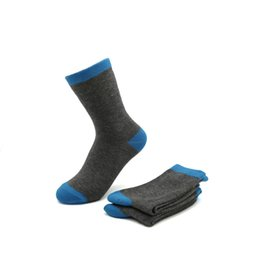 Wholesale Socks Bacterial - Wholesale-2016 School Boys fashion crew jacquard grey with blue socks cotton grey marle comfortable durable keep dry anti bacterial