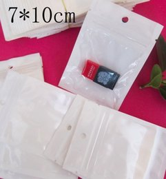 Wholesale Lock Box For Jewelry - Clear White Pearl Plastic Poly Bags OPP Packing Zipper Lock Package Accessories PVC Retail Boxes Hand Hole for USB Food Jewelry 7*10cm