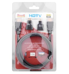 Wholesale Computer Cable Card - 1.5 m Conputer Cables 1.4 Version 3D Flat HDMI to HDMI Coverter Gold-Plated Plugs Dustproof Cover Computer Connection HD04