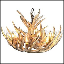 Wholesale Country Offices - vintage Antler chandelier lighting Industrial Fixture Country 6-Lights Fit for Living Room Dining room Easy Installation LLWA120