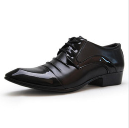 40d3d36083c9 Mens Derby Shoes Patent Leather Lace-Up Business Casual Shoes Pleated  Pointed Toe Designer Brand Wedding Dress Shoes Footwear