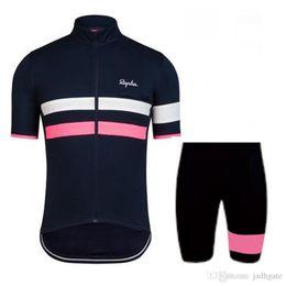 Wholesale Mens Bike Shorts Green - 2017 Rapha Cycling Jersey Sets Bike Bicycle Breathable Short Sleeves Shirt Bib Shorts Mens Cycle Clothing Sportwear E2603
