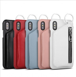 Wholesale Iphone Wallet Case Zipper - New Creative zipper Wallet 2 in 1 Stent Case Genuine Leather Cover for iPhone X 8 7 6 6s plus Case Free DHL
