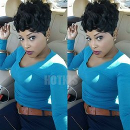Wholesale Natural Afro Hairstyles - HOTKIS 100% Human Hair Short Curly Wigs Afro Curly Short Hair Black Wigs for Women
