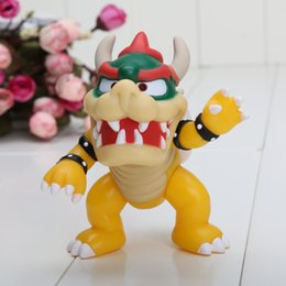 Wholesale Koopa Hat - 5 inch 12cm Super Mario Koopa bowser pvc doll with red hat Figure Toy Baby Doll figures retail