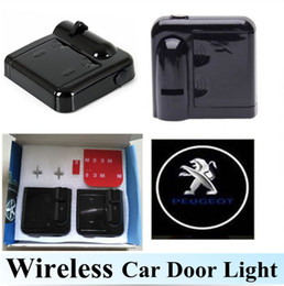 Wholesale Peugeot Light Logo - 1Pair LED Car Door Light No Drilling Required Wireless Car Projection Light LED Door Welcome Ghost Shadow Light Peugeot Logo