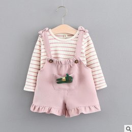 Wholesale Girls 2pc Set Casual - Babies Infant suits baby girls stripe long sleeve T-shirt+bows falbala suspender shorts 2pc clothing sets Baby autumn clothes for kids T5139