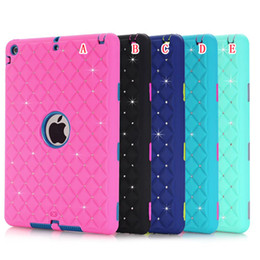Wholesale China Tablet Pc 3d - 3D Rhinestone Hard PC Silicone Case Diamond Bling Armor Hybrid 3 in 1 Shockproof Heavy Duty Defender For Ipad 2 3 4 5 Air Tablet Skin Luxury
