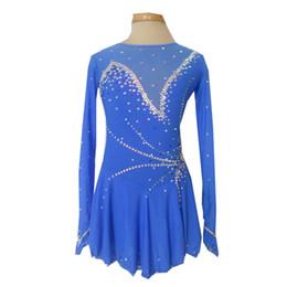Wholesale Dress Figure Skate - New Collection Modern Jewel Neck Long Sleeve Figure Skating Dresses Custom Made Beaded Ice Skating Spandex Dress Hot Selling