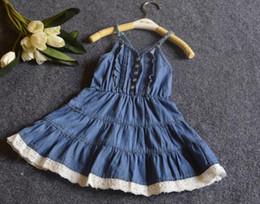 Wholesale Denim Lace Vest - New summer dress girl denim dress vest dress sleeve-less dress for 1~8 Y children 5 p l