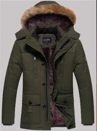 Wholesale Long Men S Parka Jackets - Men's Cotton Jacket Long Sleeve Out Coat Thick Warm Jacket Hat Detachable Parkas Winter