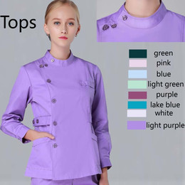 Scrubs infermieristici online-donne maniche lunghe scrubs Mandarin Collar Scrub Top spa bellezza salone uniforme design infermieristica scrub (8 colori)