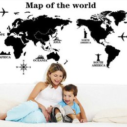 Wholesale Map Housing - Removable Paper For Decor Vinyl Wall Stickers On The Wall For Kids Rooms Decals House Sticker Girls World Map Sticker