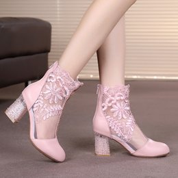 Wholesale Wholesale Wedge Boots - 2017 newest Summer chunky high heels pointed boots with lace hollow out breathable mesh back zipper women fashion designer boots