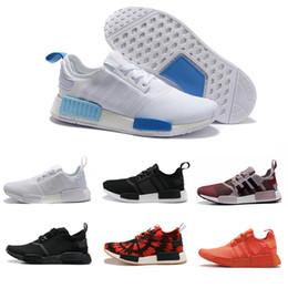 Wholesale Nice 45 - 2017 New NMD Runner R1 Primeknit OG Black Triple White Nice Kicks Circa Knit Men Women Running Shoes Orange blue Originals Sneakers 36-45