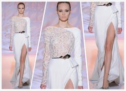 Wholesale Mermaid Ruffle Front Slit Dress - Elegant White Long Sleeve And One Poet Belt Slit Side Floor Length Beads Satin Zuhair Murad Mermaid Evening Dresses Evening Gowns 2016