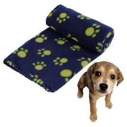 Wholesale Cat Paw Print Fleece Blanket - Cute Pet Dog Cat Puppy Blanket Paw Prints Soft Fleece Mat Bed Cover Warm