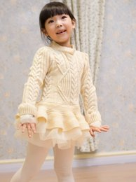 Wholesale Girls Pullover Solid Sweater Dress - 2016 Spring Winter Children Kids Girls Knit Sweater Dresses Baby girl tulle lace TUTU Winter princess jumper pullover dress Dandy Tops D5951