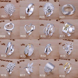 Wholesale Gold Mix Design Rings Jewelry - New Design Women Ring 925 Solid Pure Silver Plated Finger Ring Exquisite Decorative Jewelry Wedding Party Rings 64 Style Mix