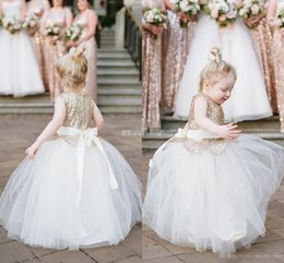 Wholesale Wedding Cupcakes Pictures - 2016 New Cute Sequins Flower Girls Dresses For Weddings Jewel Ball Gown First Communion Dress Toddler Cupcake Girls Pageant Party Gown Cheap
