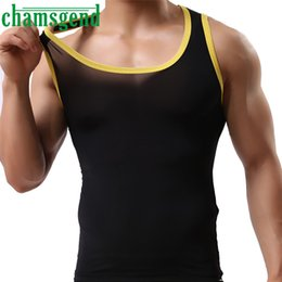 Wholesale Men S Sexy Ice Silk - Wholesale- 2017 Cool Men O-Neck Patchwork Ice Silk Perspective Sleeveless Tank Top Casual Muscle Summer Vest 5 Colors M-L2 New Ap12