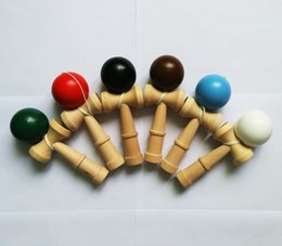 Wholesale Traditional Japanese Children Toys - DHL Fedex Free New Big size 18*6cm Kendama Ball Japanese Traditional Wood Game Toy Education Gift Children toys 6 colors B001