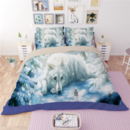 Wholesale Duvet Set Snow White - White Wolf Printing Bedding Sets Twin Full Queen King Size Fabric Cotton Bedclothes Duvet Covers Set Pillow Shams Comforter Snow Ice Animal
